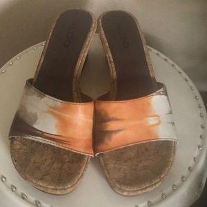NWOT Aldo cork bottom slides low wedge sandals